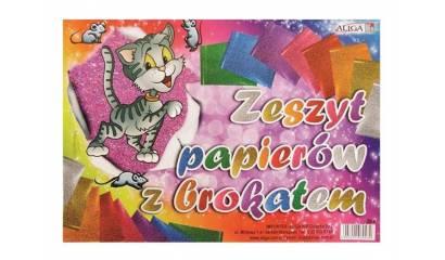 Zeszyt papierów kolorowych ALIGA 17x25cm brokatowe 8k ZB-8