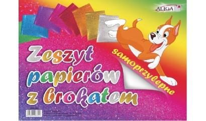 Zeszyt papierów kolorowych samoprzylepnych ALIGA 17x25cm brokatowe 8k ZPBS-6389