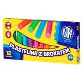 Plastelina szkolna ASTRA 12 kolorów brokatowa 303107001