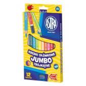 Kredki ołówkowe ASTRA Jumbo trójkatne 12 kolorów 312110007