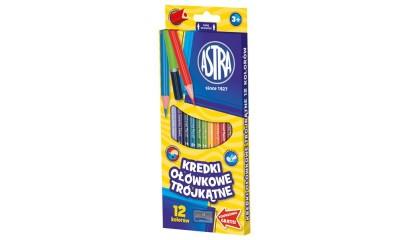 Kredki ołówkowe ASTRA trójkatne 12kol. 312110002