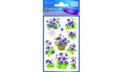 Naklejki z kwiatami - fiołek  AVERY 4317