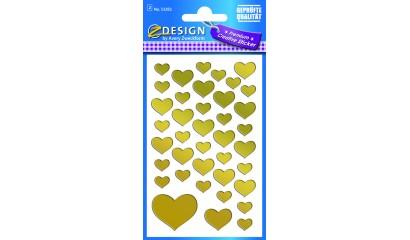 Naklejki serca - złote (folia) AVERY 53282