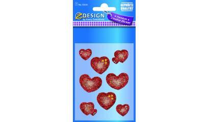 Naklejki brokatowe - serca czerwone AVERY 55636