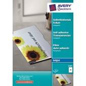 Folia samoprzylepna ZF Avery A4 przeźr. druk.atrament 0,17mic (50ark) 25012501