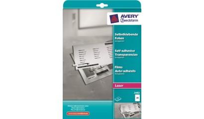 Folia samoprzylepna ZF Avery A4 przeźr. druk.laser i xero 0,14mic (25ark) 3482