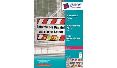 Folia zewnętrzna ZF Avery A4 biała druk.laser i xero 0,13mic (100ark) 3487