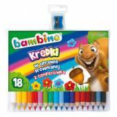 Kredki BAMBINO 18 kolorów w drewnie 15cm + temperówka FO-20122