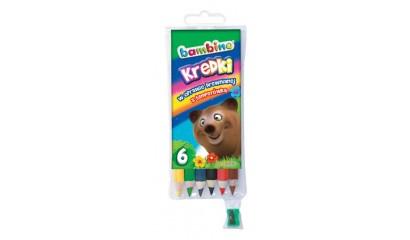 Kredki BAMBINO 6 kolorów w drewnie 15cm + temperówka FO-20110