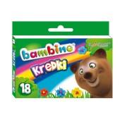 Kredki BAMBINO świecowe 18 kolorów - kartonowe opak. FO-20080