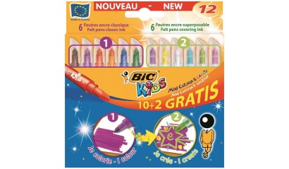 Flamastry BIC Kids Colour&Create Mini 10+2kol. 893238