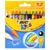 Kredki świecowe BIC Kids Wax Crayons 12 kolorów 8396061
