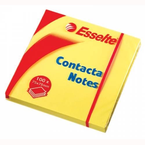 Karteczki samoprzylepne ESSELTE CONTACTA 75x50 ¿ó³te (100kart) 83005