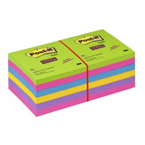 Karteczki samoprzylepne 3M 76x76 Super Sticky 12-bl. po 90k neonowe 654-12SSUC