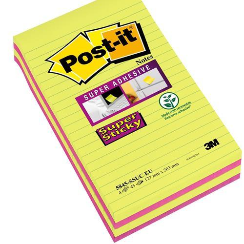 Karteczki samoprzylepne 3M 125x200 Super Sticy w liniê 4-bl. 5845-SSUC