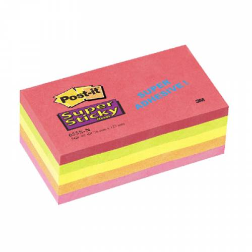 Bloczeki samopoprzylepne 3M 76x127 Super Sticky, Kapsztad, 5 sztuk po 90 kartek 655S-N
