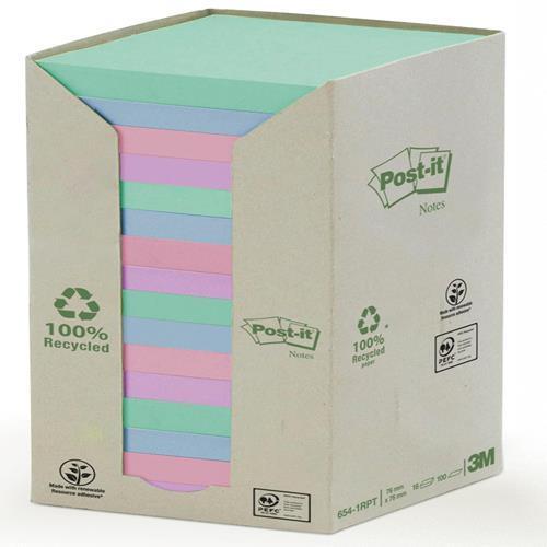 Karteczki samoprzylepne 3M EKO 76x76 pastelowe kolorowe (16-bl) 654-1-RPT