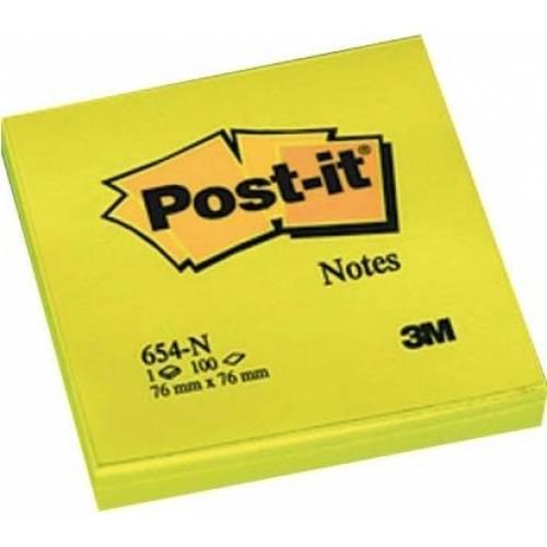 Karteczki samoprzylepne 3M Post-it 76x76mm jaskrawy ¿ó³ty 100 kart 654-NY