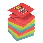 Bloczki samop. 3M Post-it 76x76mm Super Sticky, Z-Notes, Bora Bora, 6 sztuk po 90 kartek R330-6SS-JP