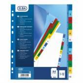 Przekładki PP ELBA A4 MAXI kolorowe 1-12 E17561220