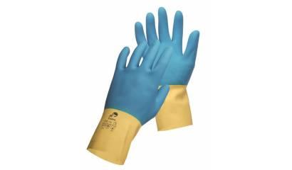 Rękawice montażowe CERVA CASPIA, lateks/neopren, rozm. 9, żółto-niebieskie