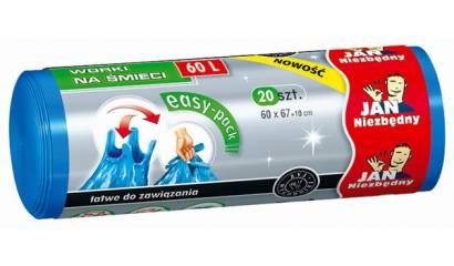 Worki na śmieci 60l JAN NIEZBĘDNY Easy-Pack niebieskie (20szt) wiązane