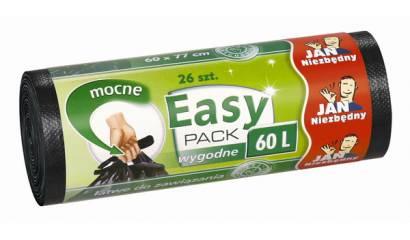 Worki na śmieci 60l JAN NIEZBĘDNY Easy-Pack czarne (26) wiązane
