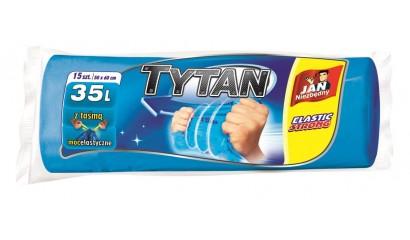 Worki na śmieci 35l JAN NIEZBĘDNY LD Tytan (15szt) z taśmą