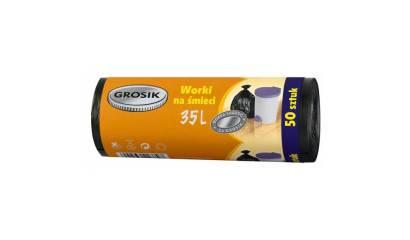 Worki na śmieci GROSIK HDPE 35L czarne (50szt)