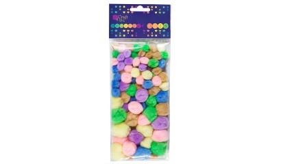 Pompony dekoracyjne DALPRINT akrylowe Mix pastel (78szt) KSPO-002
