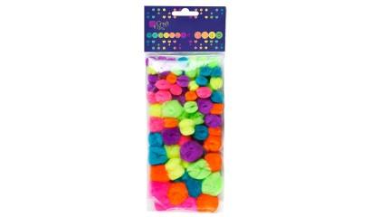 Pompony dekoracyjne DALPRINT akrylowe Mix neon (78szt) KSPO-003
