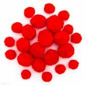 Pompony akrylowe DALPRINT mix czerwone (24szt) KSPO-016