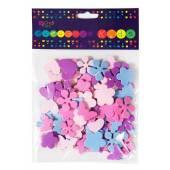 Naklejki z pianki PVC DALPRINT Serca,kwiatki,motyle (100szt) KSPI-022