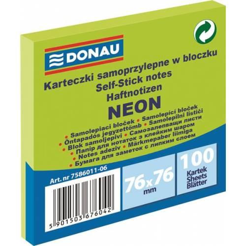 Karteczki samoprzylepne DONAU 76x76mm neonowy zielony (100k) 7586011-06