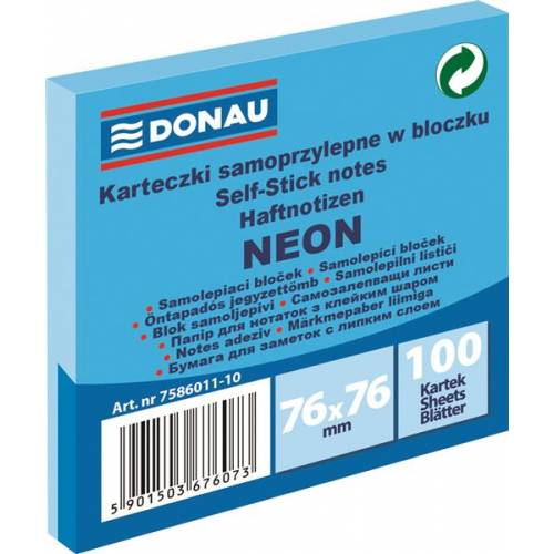 Karteczki samoprzylepne DONAU 76x76mm neonowy niebieski (100k) 7586011-10