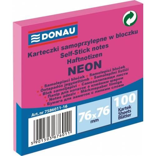 Karteczki samoprzylepne DONAU 76x76mm neonowy ró¿owy (100k) 7586011-16