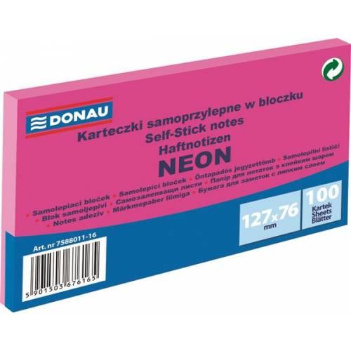 Karteczki samoprzylepne DONAU 127x76mm neonowy ró¿owy (100k) 7588011-16