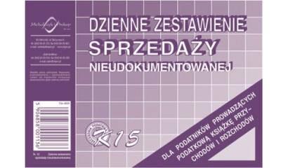 Druk Dzienne zestawienie sprzedaży A6 K-15 Michalczyk i Prokop