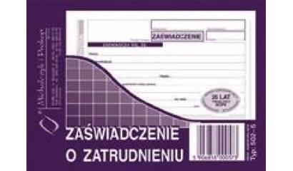 Druk Zaświadczenie o zatrudnieniu A6 (org.+kopia) 502-5 Michalczyk i Prokop