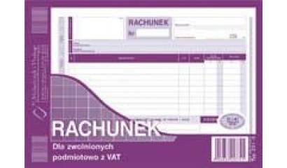 Druk Rachunek dla zwolnionych podmiotowo z VAT A5 (org.+kopia) 231-3 Michalczyk i Prokop