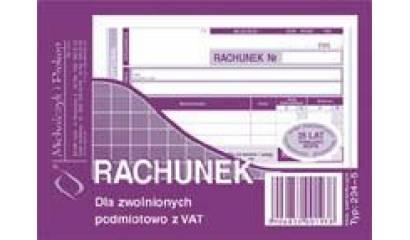 Druk Rachunek dla zwolnionych podmiotowo z VAT A6 (org.+kopia) 234-5 Michalczyk i Prokop