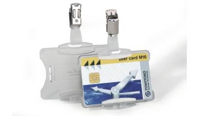 Identyfikator do kart DURABLE 54x85 z klipem przeźroczysty 811819