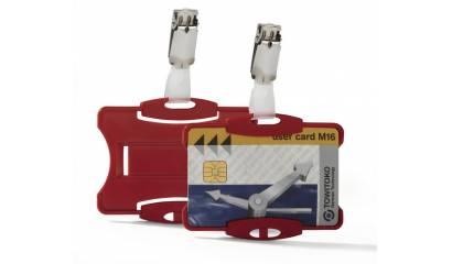 Identyfikator do kart DURABLE 54x85 z klipem czerwony 811803
