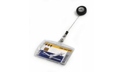 Identyfikator do kart DURABLE 54x85 z zawieszką ściągającą (sztywne etuii) 801219