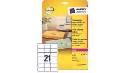 Etykiety przeźroczyste samop. ZF Avery 63.5x38.1 (25ark.) druk.laserowa L7560-25
