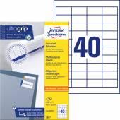 Trwałe etykiety uniwersalne Avery Zweckform; A4, 100 ark./op., 48,5 x 25,4 mm, białe