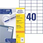 Trwałe etykiety uniwersalne Avery Zweckform; A4, 100 ark./op., 52,5 x 29,7 mm, białe