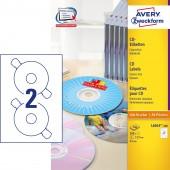Etykiety na płyty CD Avery Zweckform; A4, 100 ark./op., ø117 mm, białe L6043-100