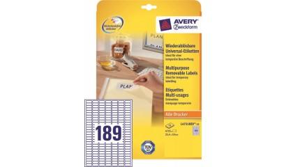 Etykiety samop. ZF Avery 25.4x10 (25ark.) Stick&Lift L4731REV-25