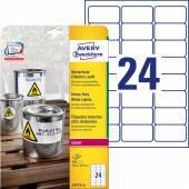 Etykiety Heavy Duty Avery Zweckform; A4, 20 ark./op., 63,5 x 33,9 mm, białe, poliestrowe